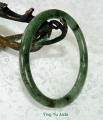 "Vintage Classic Round Slender ""Dragon Tracks"" Jadeite Bangle 59mm   (V721)"