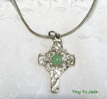 Estate Pre-Owned Jade Cabochon Celtic Silver Cross and Chain (TI-CELT)