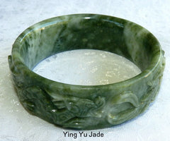 Qing Dynasty Emperor's  Vintage Carved Dragon Phoenix Jade Bangle Bracelet 65 mm (TI-1318)