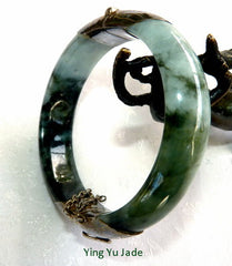 Deep Green Veins Burmese Jadeite Bangle Bracelet with Hinge 55 mm (TI1319)