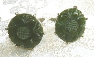 Vintage Estate Pair Carved Nephrite Jade Cufflinks