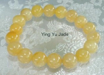 """Well Being"" Yellow  Chinese Jade Bead Stretch Bracelet"