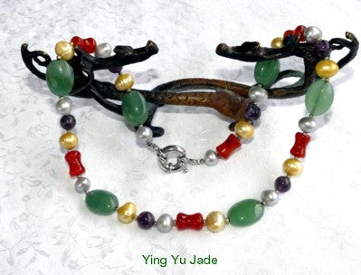 Colorful Jade, Pearls, Silver and Beads Necklace (YYBOX-18)