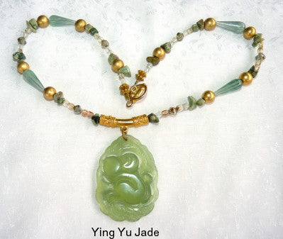 "Ying Yu's Jewelry Box-Chinese Jade ""Monkey Protects Peach"" Necklace (YYB-27)"
