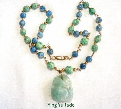 "Ying Yu's Jewerly Box-""Monkey Protects Peach"" Burmese Jadeite Pendant Necklace (YYB25)"