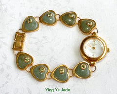 Ying Yu's Jewelry Box - Vintage Main Line Time Jadeite Jade Heart and Gold Watch