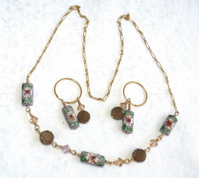 Ying Yu's Jewelry Box-Chinese Jade and Cloisonne Necklace and Earrings Set (Y