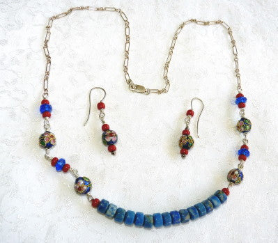 ing Yu's Jewelry Box-Chinese Cloisonne Blue Necklace and Earrings Set (BOX-26)