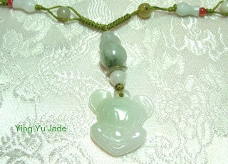 "Rare Mickey Mouse Style ""Year of the Rat"" Jadeite Pendant Necklace - Last One"