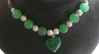 """True Eternal Love"" Jade and Pearls Heart Necklace"