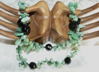 Polished Jade Chips and Onyx Necklace