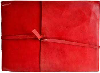 Red scroll Leather sketchbook w/ cord