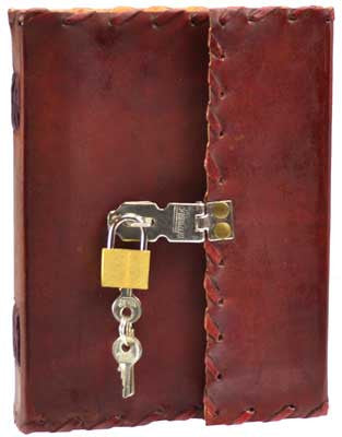 1842 Poetry leather blank book w/ latch