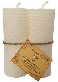 "4 1/4"" Altar set white Lailokens Awen candle"