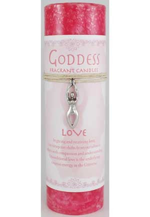 Love Pillar Candle with Goddess Necklace