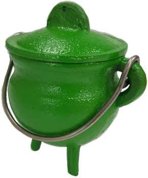 3' Green cast iron cauldron