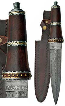 Dirk Wood Damascus athame 13 3/4""