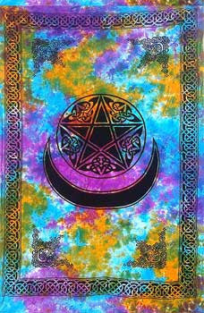 "60"" x 90"" Pentagram with Moon tapestry"