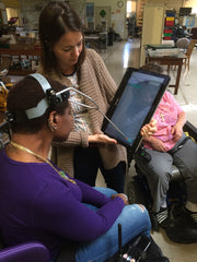 Testing an early prototype at the cerebral palsy center.