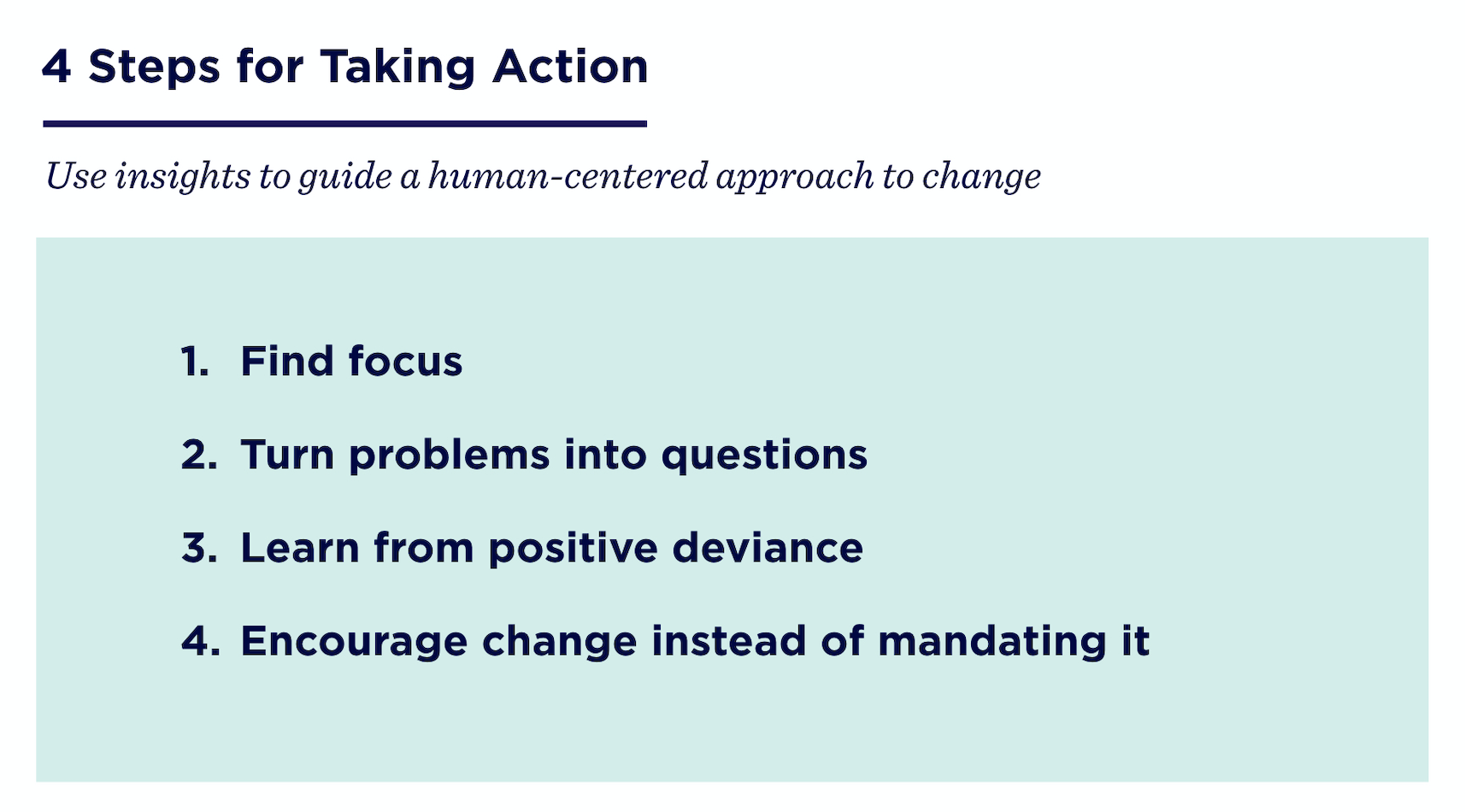 4 steps for taking action