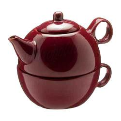 Tea Blendz - Tea for One - Tea Pot & Cup Combo - Burgandy