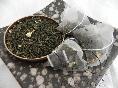 Tea Blendz, Jasmine Green, Green tea pyramid bag, tea blend