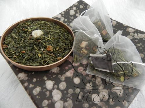 Tea Blendz, Touch of Strawberry, flavoured green tea blend, pyramid tea bag