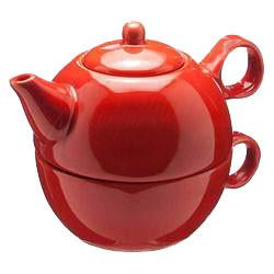 Tea Blendz - Tea for One - Tea Pot & Cup Combo - Vermilion Red