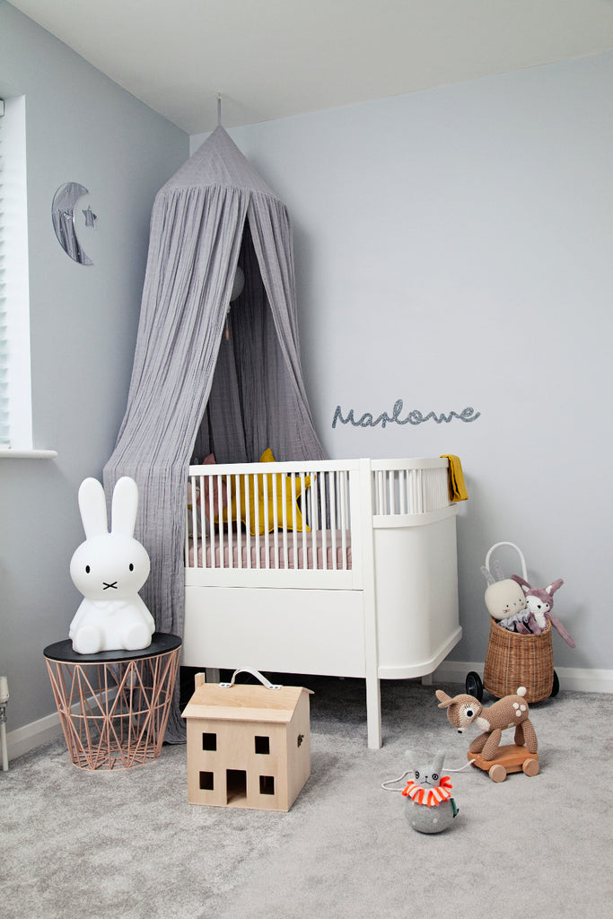 Marlowe's nursery Sebra Cot and Canopy