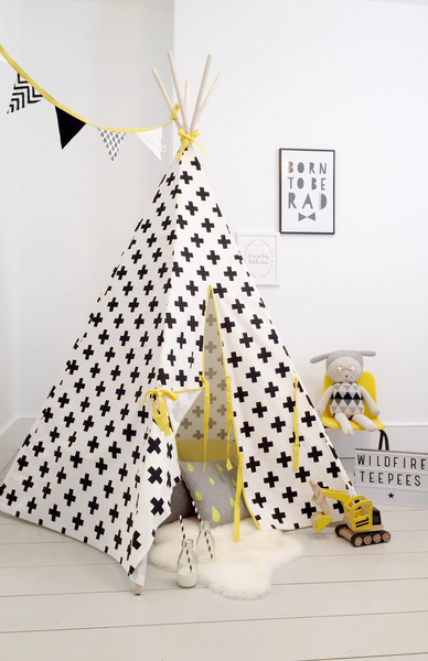 Wildfire Teepees Cross Print Teepee with Yellow Trim