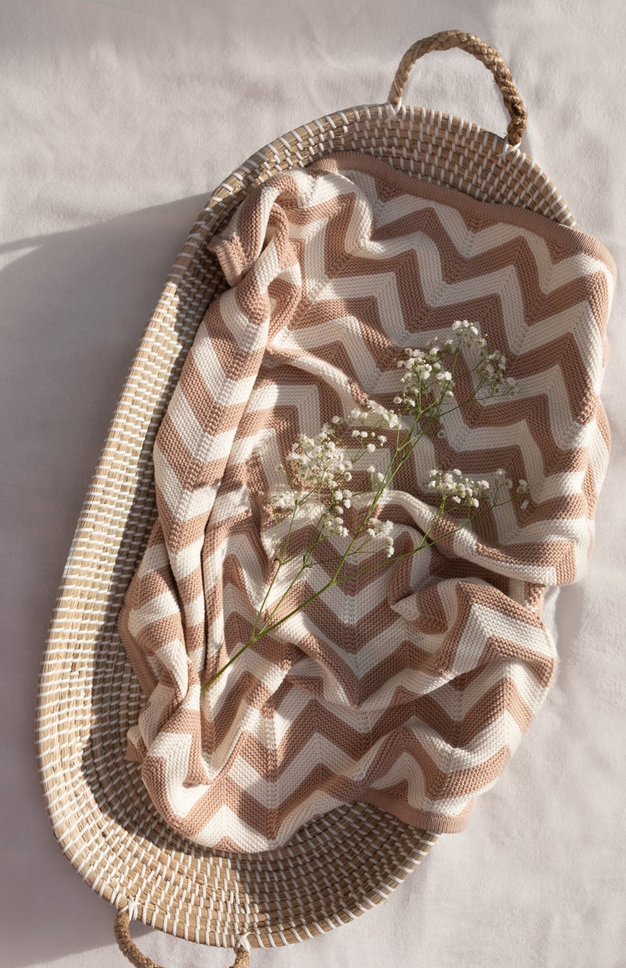 Isla & Fraser Organic Cotton Cellular Baby Blanket - Rose Chevron