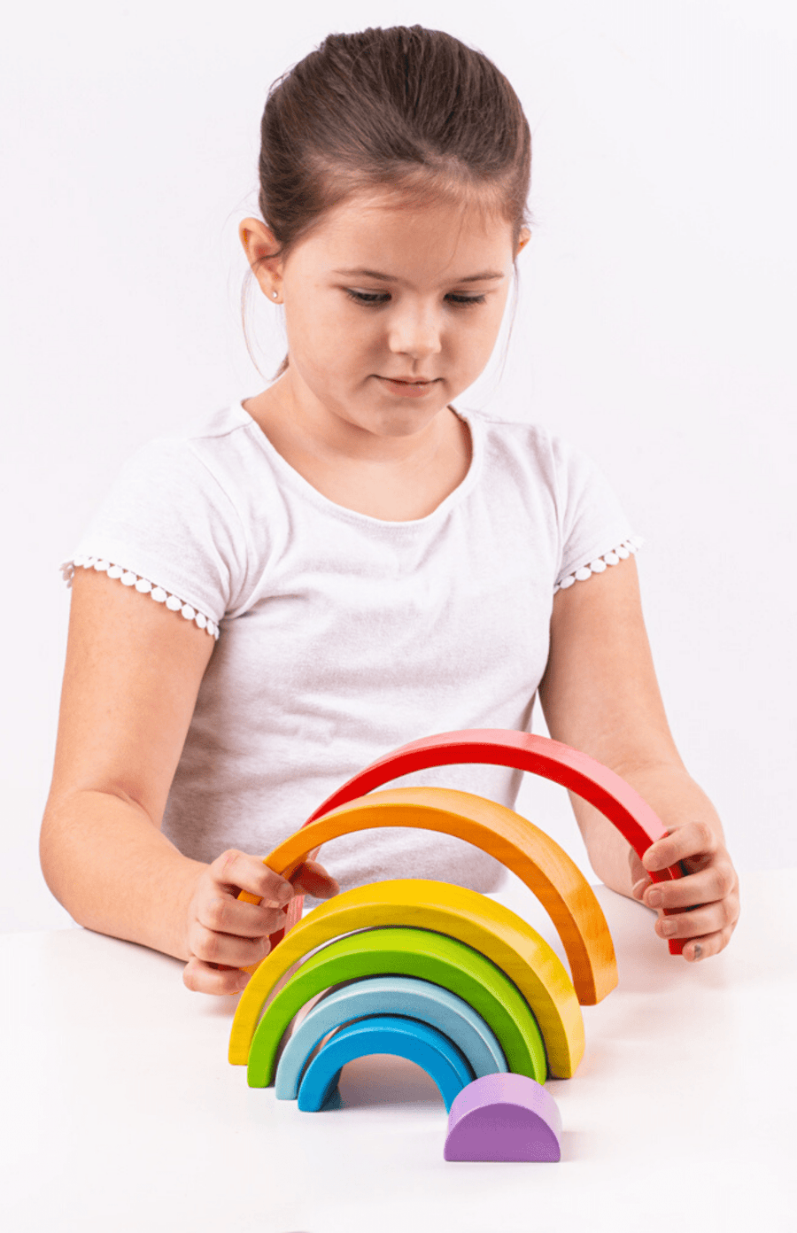 BigJigs Small Wooden Stacking Rainbow - Multi Colour
