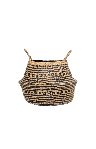 Bloomingville Seagrass Belly Basket - Natural/Black