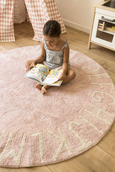 Lorena Canals Washable Rug Round ABC - Vintage Nude