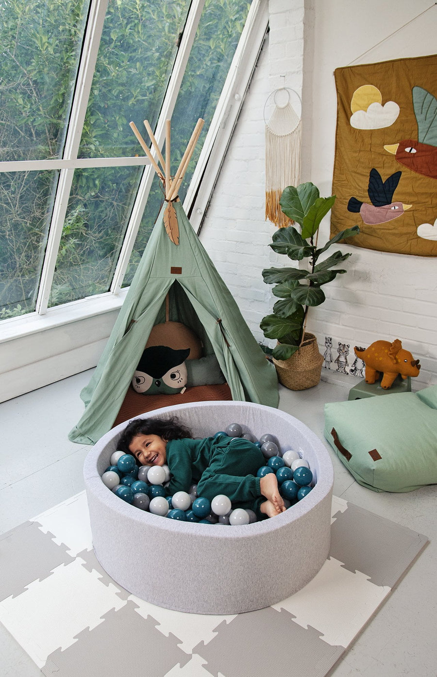 Mini Be Ball Pit - Green/Grey In Grey Pit
