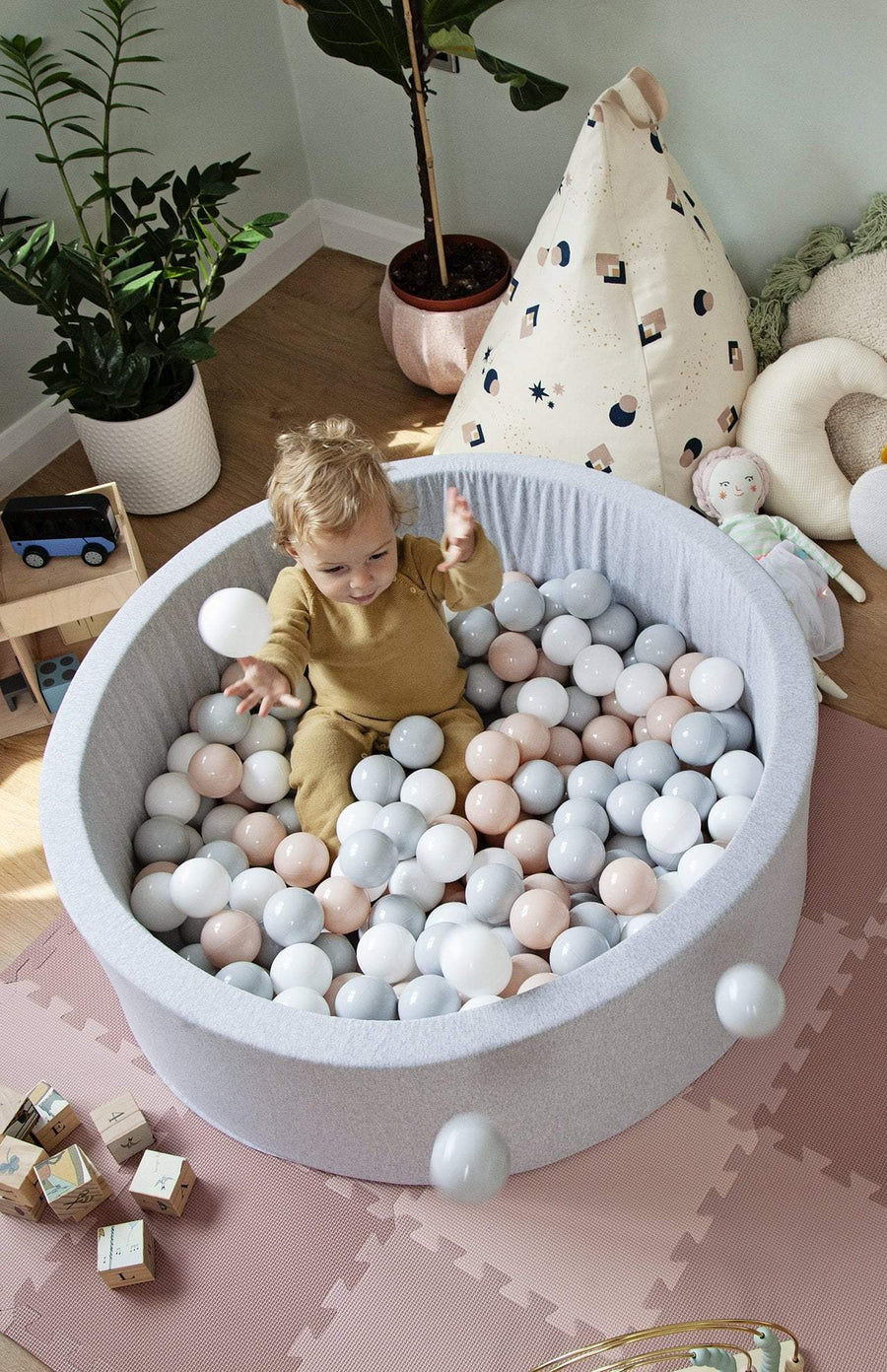 Mini Be Ball Pit - Pale Rose/Grey