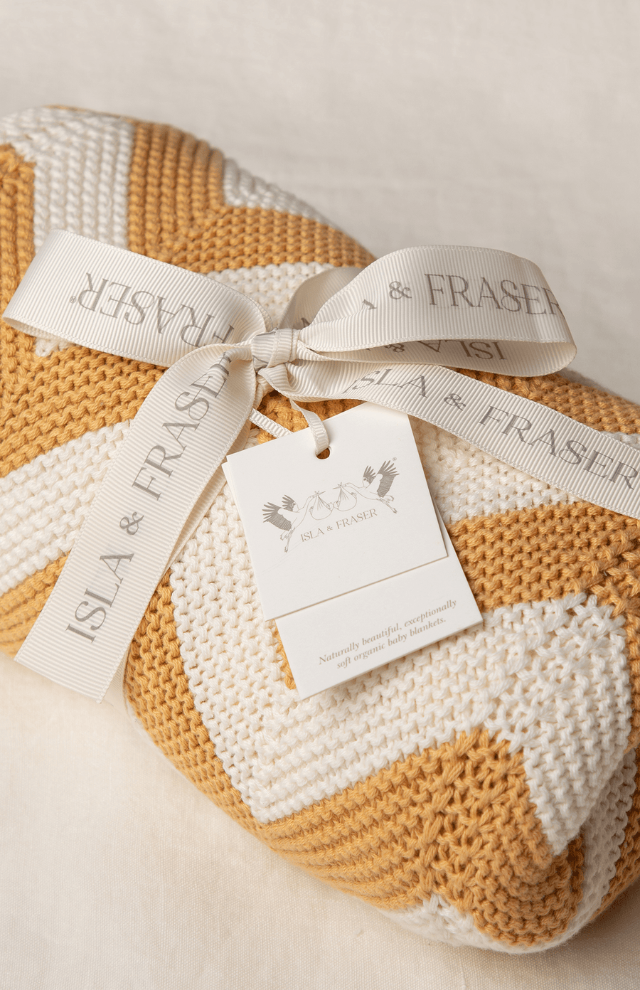 Exclusive to The Modern Nursery- Isla & Fraser Organic Cotton Cellular Baby Blanket - Honey Chevron