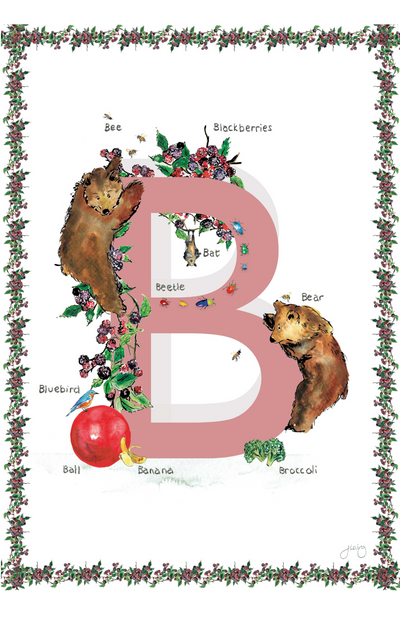 Jo Laing Alphabet Nursery Art Print 'B is For'
