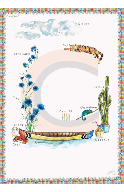 Jo Laing Alphabet Nursery Art Print 'C is For'