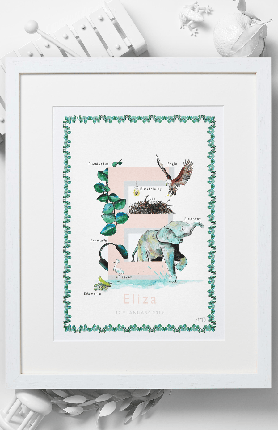 Jo Laing Alphabet Nursery Art Print 'E is For'