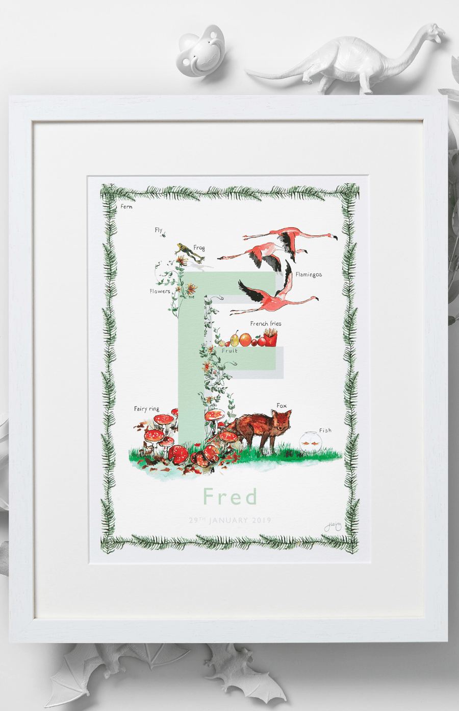 Jo Laing Alphabet Nursery Art Print 'F is For'