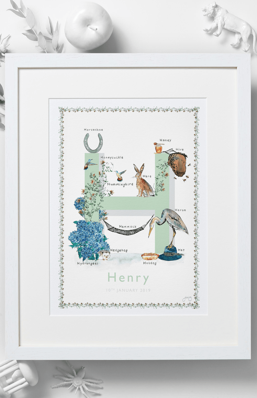 Jo Laing Alphabet Nursery Art Print 'H is For'