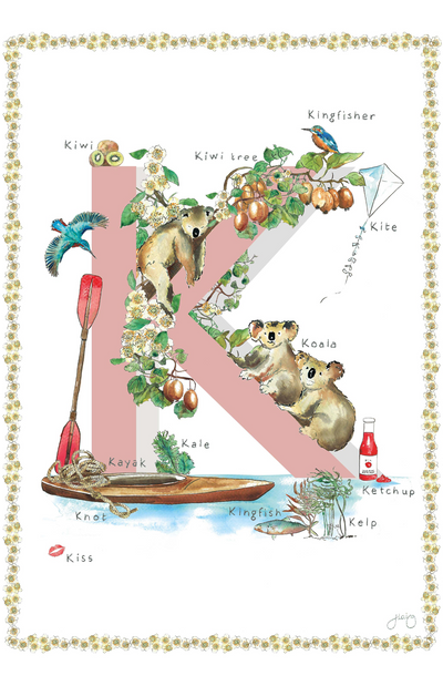 Jo Laing Alphabet Nursery Art Print 'K is For'