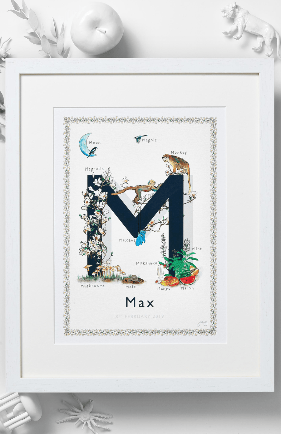 Jo Laing Alphabet Nursery Art Print 'M is For'