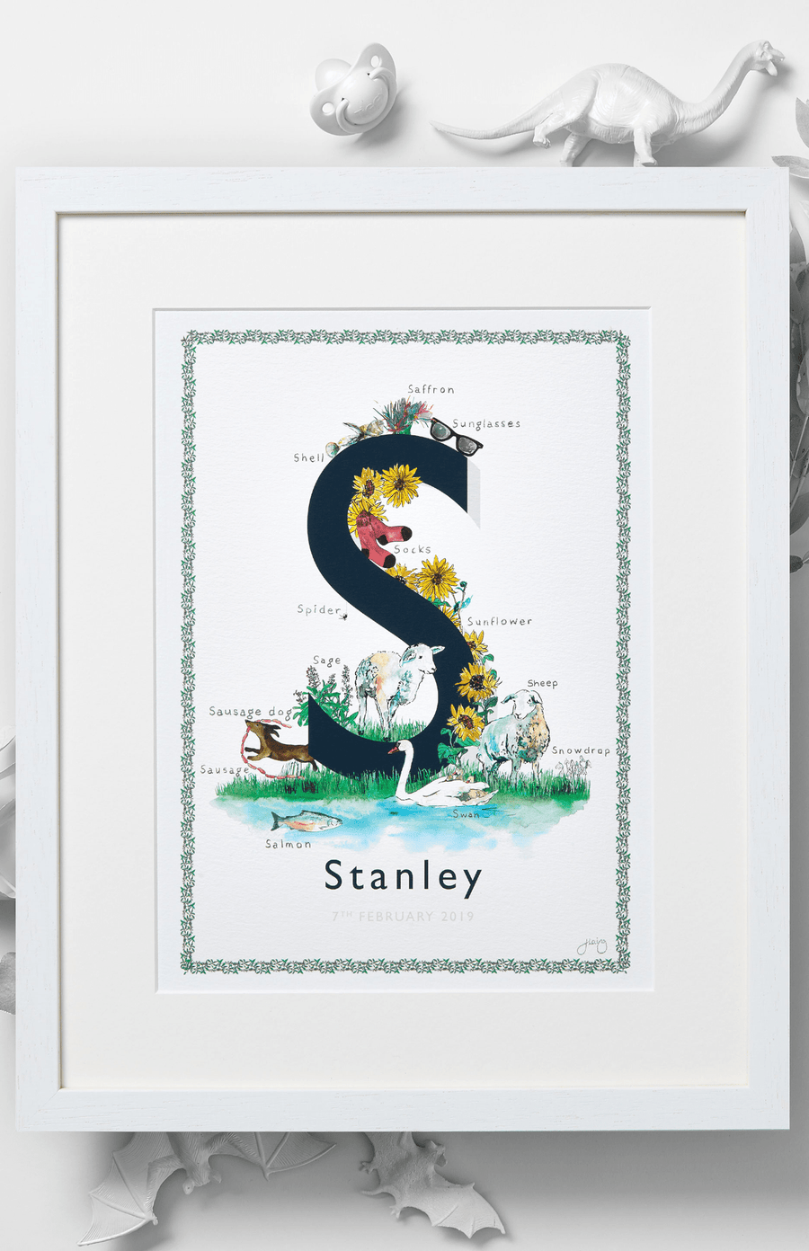 Jo Laing Alphabet Nursery Art Print 'S is For'