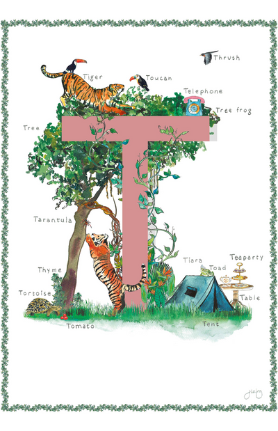 Jo Laing Alphabet Nursery Art Print 'T is For'