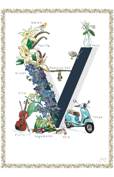 Jo Laing Alphabet Nursery Art Print 'V is For'