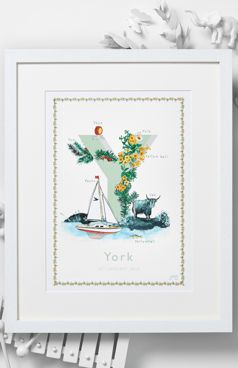 Jo Laing Alphabet Nursery Art Print 'Y is For'