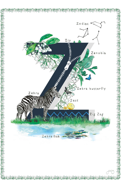 Jo Laing Alphabet Nursery Art Print 'Z is For'