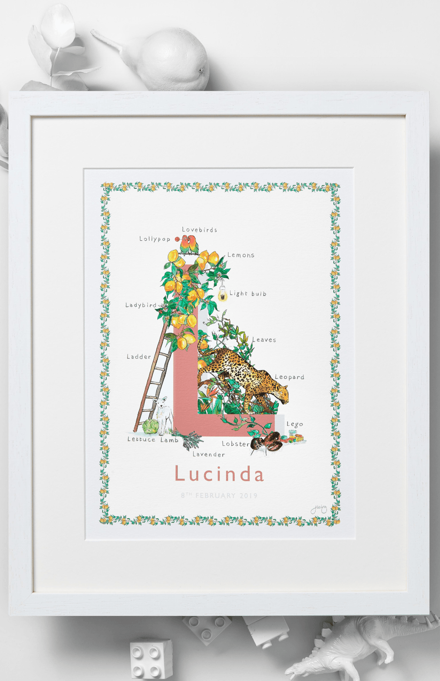 Jo Laing Alphabet Nursery Art Print 'L is For'